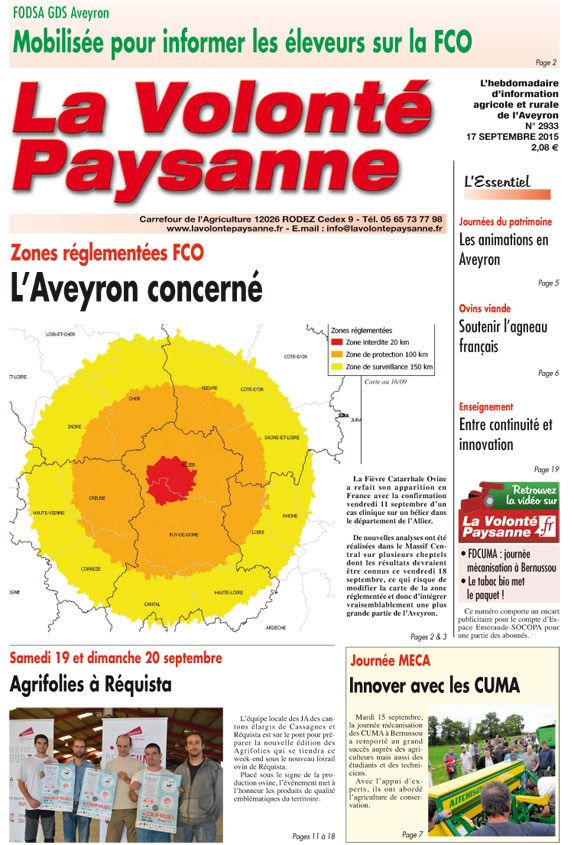 Jeudi 17 septembre lettre d 39 info vp n 79 for Chambre d agriculture luxembourg